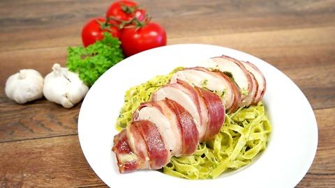 Pesto and mozzarella chicken wrapped in bacon
