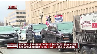 In-vehicle protest against expanded stay-at-home order held in Lansing