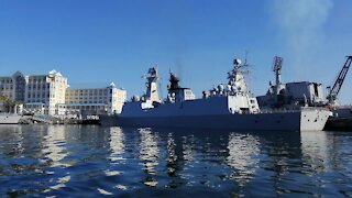 SOUTH AFRICA - Cape Town - Chinese Russian and SA Navy Vessels Leaving (Video) (tPF)