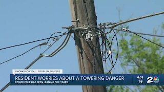 Tulsa resident worries about a towering power pole