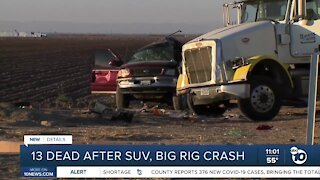 13 dead after SUV, big rig crash