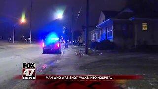 Shot man walks to hospital