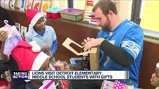 Lions visit Detroit elementary, middle school students with gifts