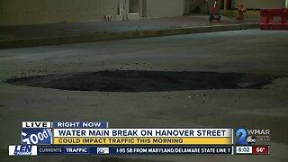 Water main break on Hanover Street