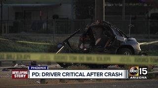 Driver critical after crash