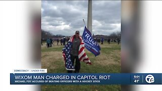 Metro Detroit man arrested for allegedly assaulting police officer with hockey stick at Capitol riot