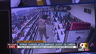 Woman rampages three stores, burns one