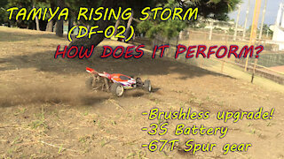 Tamiya Rising storm DF-02 Brushless Upgrade (3S) and 67T Spur gear Quite Fast!!