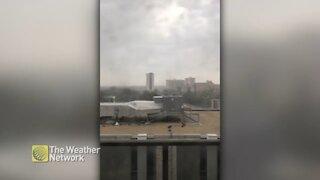 Grey clouds and thunder push through Winnipeg