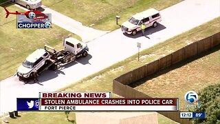 Stolen ambulance crashes into Fort Pierce police car