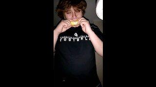 Eating banana with peel