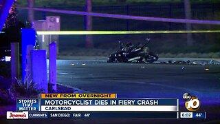 Motorcyclist killed in fiery crash in Carlsbad