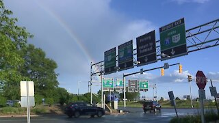 Beautiful rainbow spotted in Cleveland near the airport