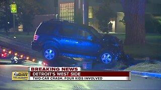 Two-car crash, four kids involved on Detroit's west side