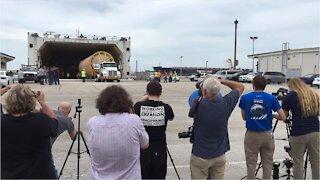 Atlas V rocket segments unloaded at Port Canaveral