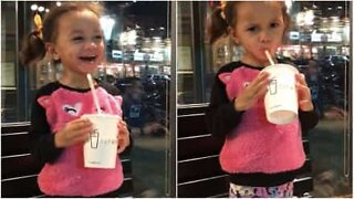 Little girl refuses to share her smoothie
