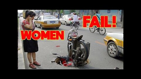 Funny women fal fail in traffic - Women 👠 without skill and funny failures, try not to laugh ...