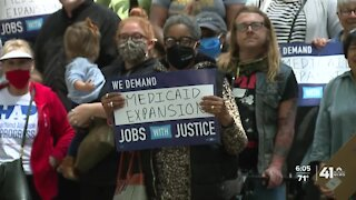 Dozens rally in KC after Parson halts Medicaid expansion