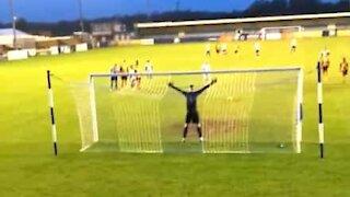 Badly taken penalty destroys football stadium light