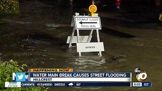 Water main break floods Hillcrest intersection