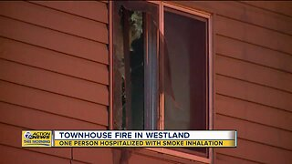 One person hospitalized after townhouse fire in Westland