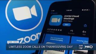 Zoom calls free on Thanksgiving