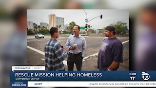 Rescue mission helping homeless staying at San Diego convention center