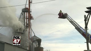 Firefighters responding to fire at agricultural business