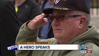 Veteran stands in boot prints of fellow fallen service members to honor, raise money