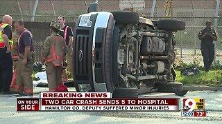 Crash sends 5 to hospital, including deputy