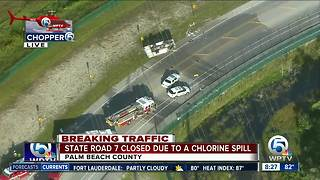 State Road 7 closed after rollover crash, chlorine spill
