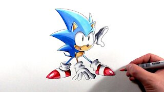 Drawing Sonic Crouch Pose - Sonic Mania Adventures