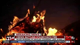 The Kern County Fire Department has issued recommended evacuations as the Stagecoach Fire reaches 1,500 acres