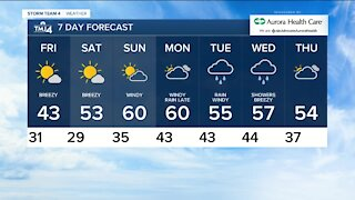 Friday is sunny with highs near 50