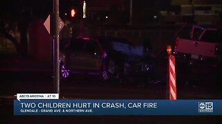 PD: 3 kids hospitalized after fiery crash in Glendale