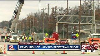 Demolition of Harvard pedestrian bridge