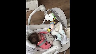Husky sweetly plays with happy baby