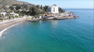 Aerial view Papudo beach and city in Chile