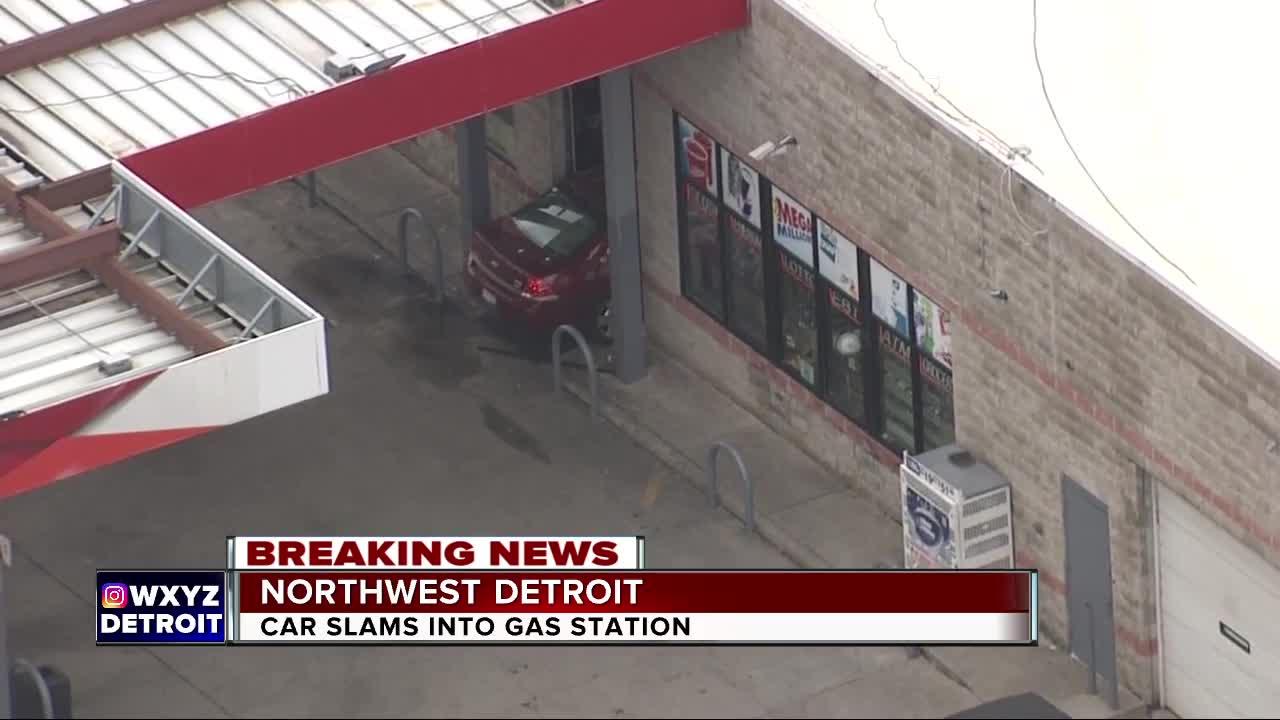 Car slams into gas station in northwest Detroit