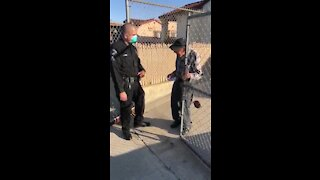 LAPD police officer stopped by to surprise an elderly man with $100 gift card