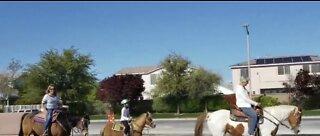 Social distancing while horseback riding in Las Vegas valley