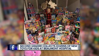 Second-grader collects dozens of new toys for kids at Beaumont hospital
