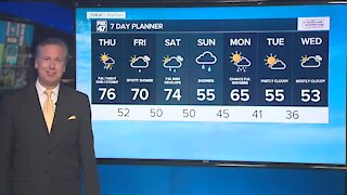 Breezy and mild, but shower/storm chances increase