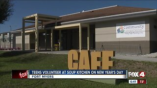 Teens volunteer at soup kitchen on New Year's Day