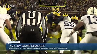 Restrictions in place as Michigan, Michigan State meet for rivalry game Saturday