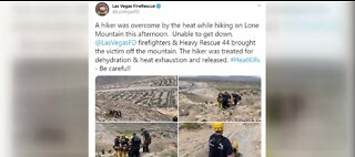 Hiker rescued on Lone Mountain after overheating