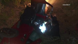 VIDEO: CHP officers pull pursuit suspect from burning car