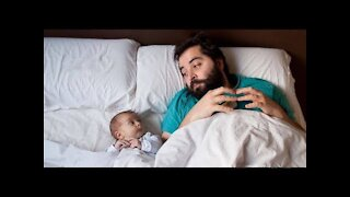 Baby with there father playing cute