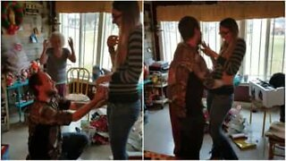 Emotional marriage proposal on Christmas Eve