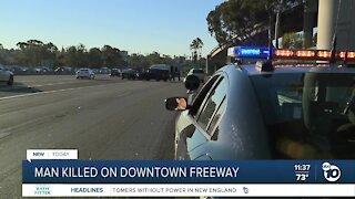 Man hit, killed on freeway near downtown San Diego